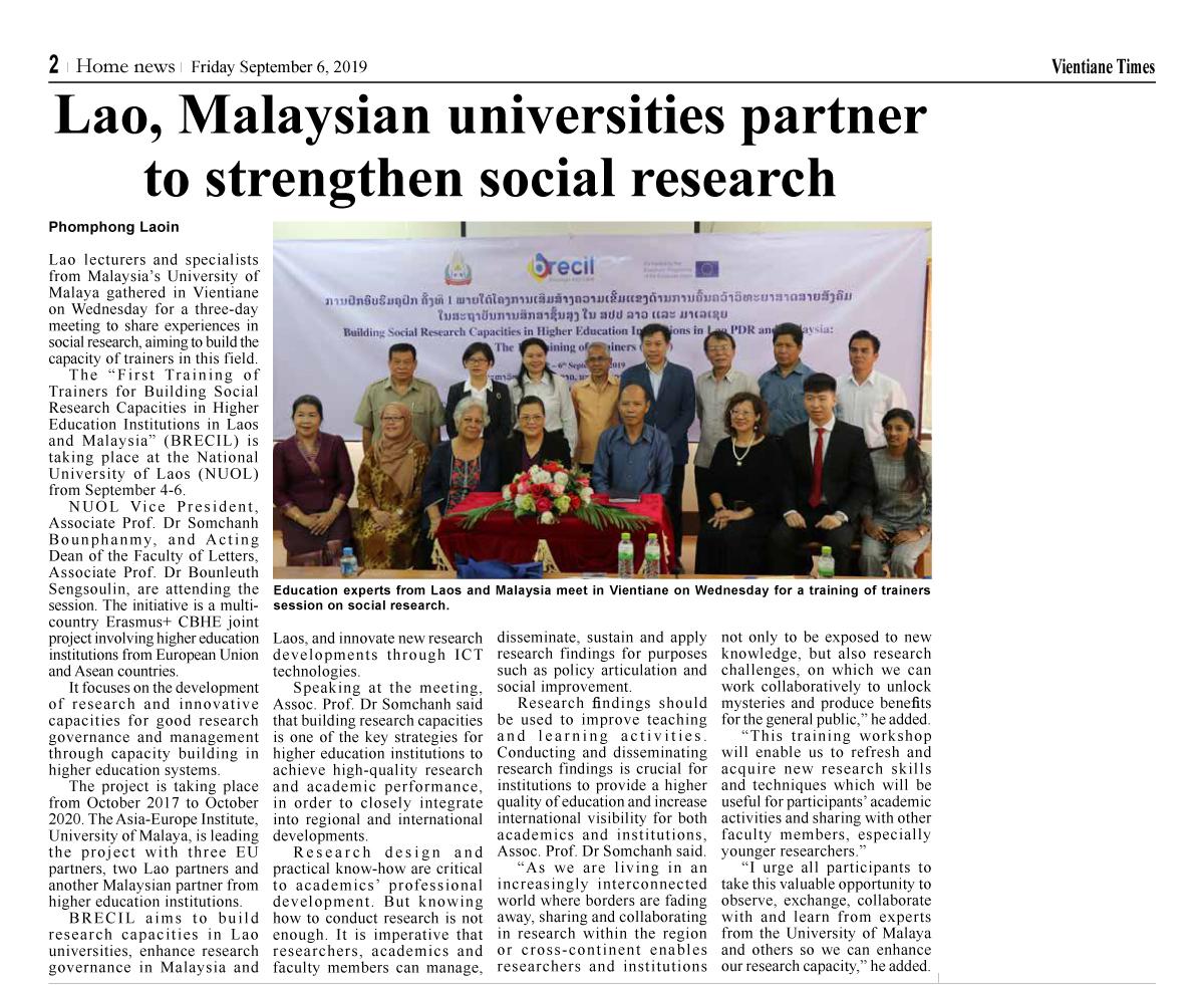 Newspaper clip: Vientiane Times, 6 Sept 2019