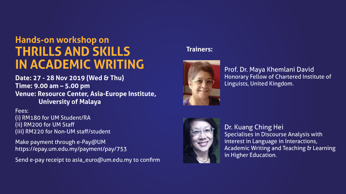 Hands-on workshop on Thrills and Skills in Academic Writing