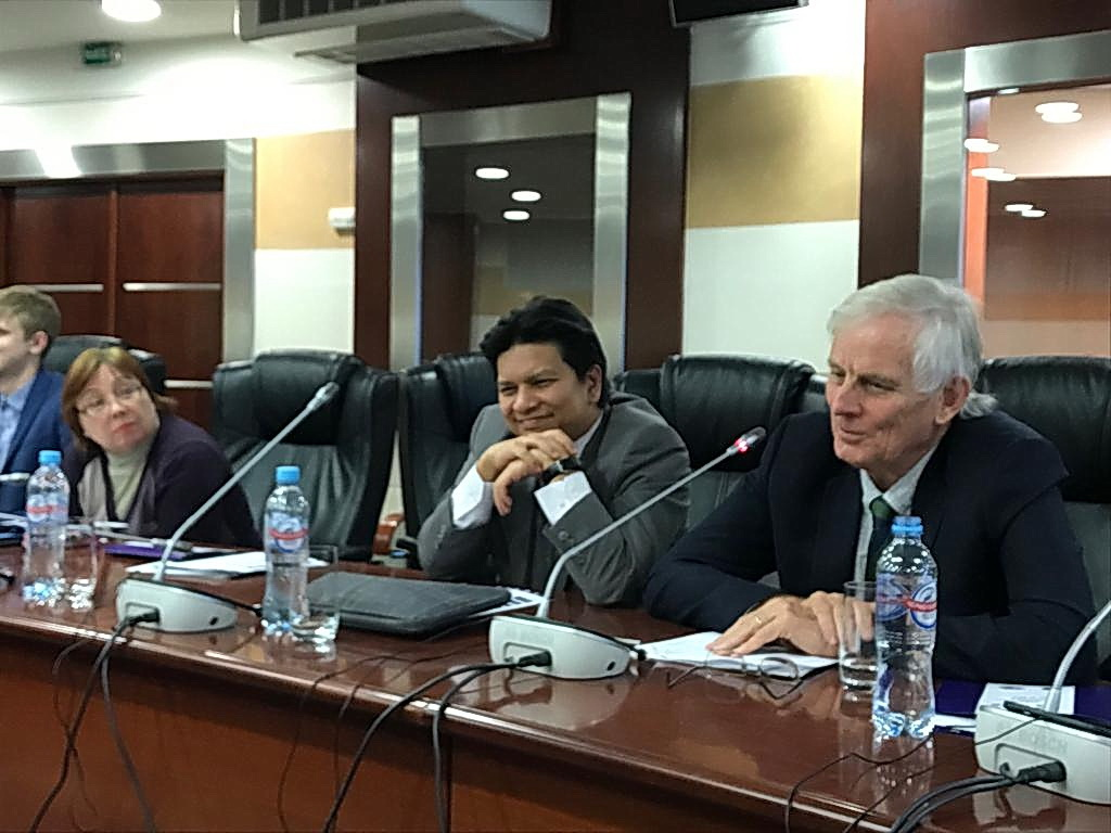 From left: Dr. Larissa Ruban, Johan Ariff Abdul Razak (Deputy Chief of Mission, Embassy of Malaysia, Moscow) and Professor Anthony Milner