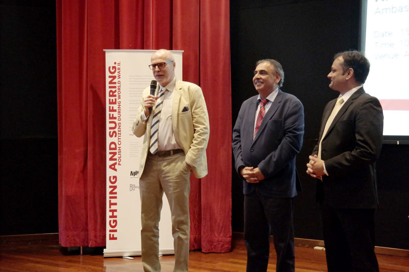 "H.E. Professor Krzysztof Dębnicki officiating the exhibition on ""Polish Citizens during WWII"""