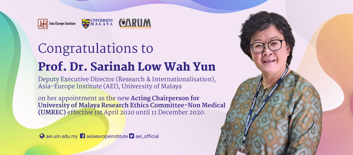 Prof. Dr. Sarinah Low Wah Yun is the new Acting Chairperson for UMREC