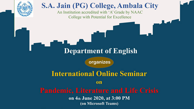 Join Prof. Maya Khemlani David at the International Online Seminar on Pandemic, Literature and Life Crisis