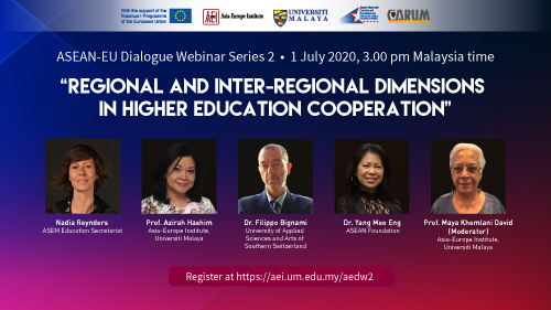 ASEAN-EU DIALOGUE WEBINAR SERIES 2: Regional and Inter-Regional Dimensions in Higher Education Cooperation