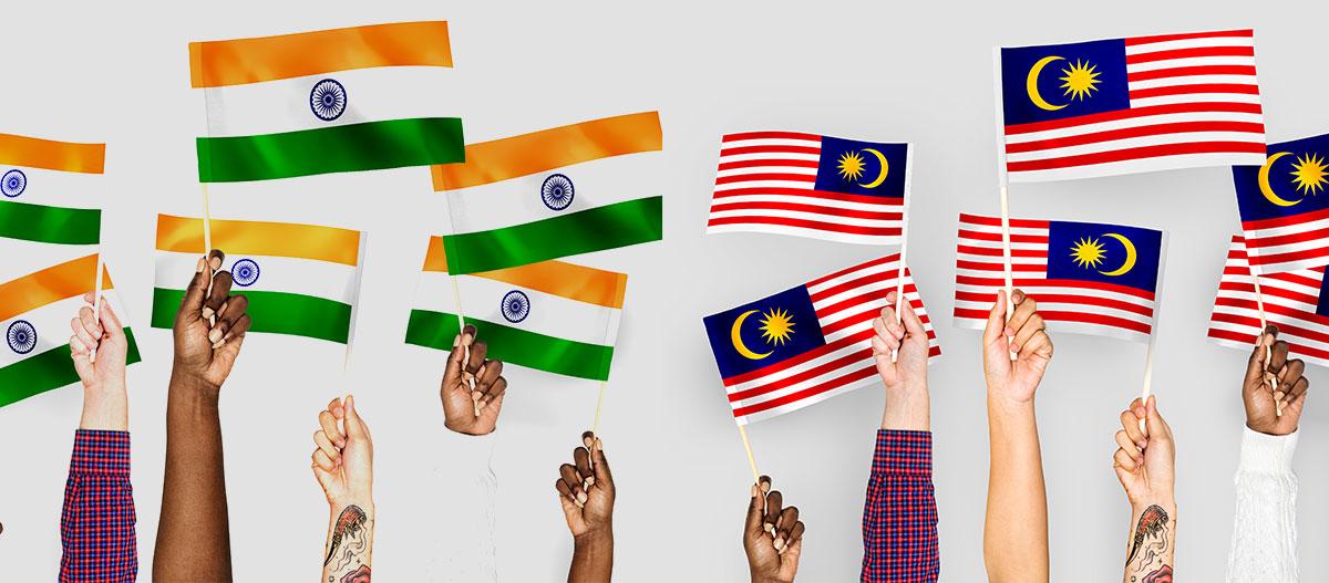 Waving malaysia india flag