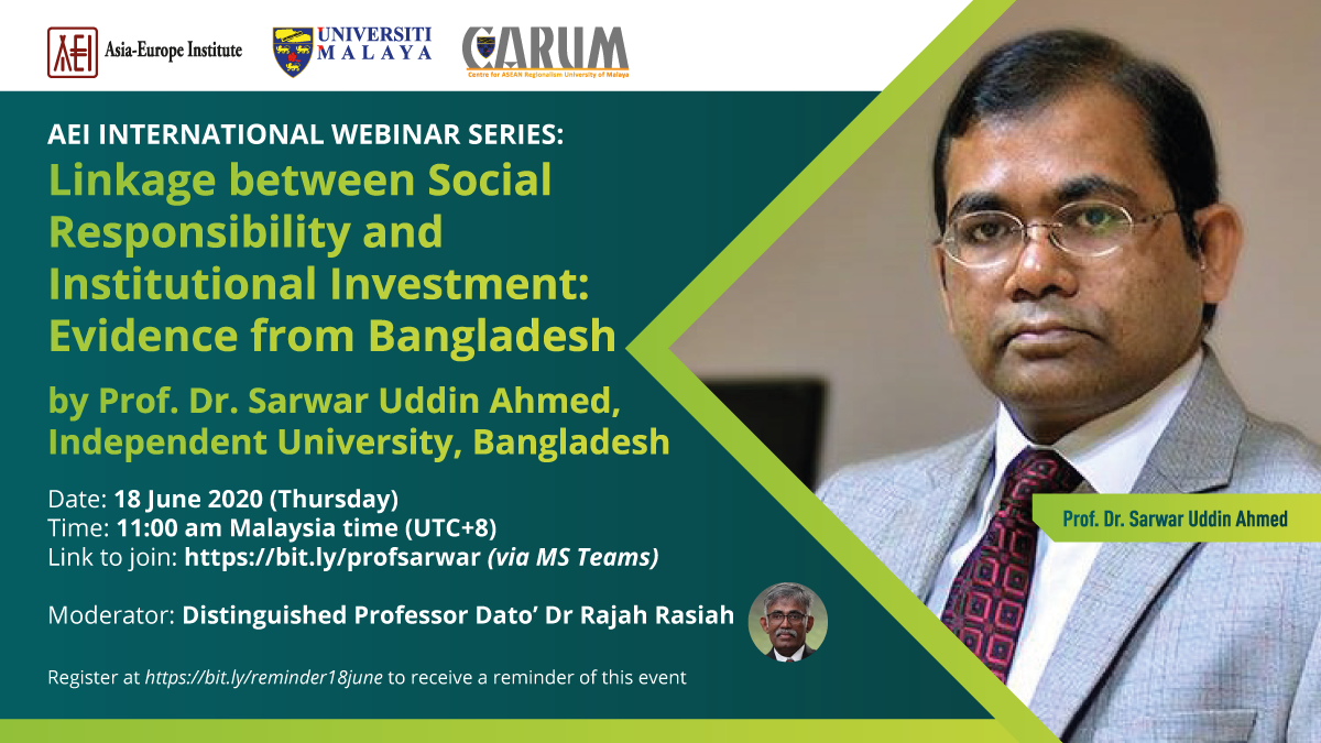 AEI International Webinar Series featuring Prof. Dr. Sarwar Uddin Ahmed from Independent University, Bangladesh