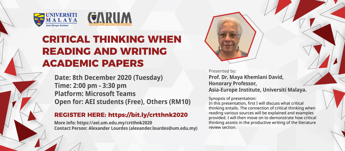 Critical Thinking When Reading and Writing Academic Papers