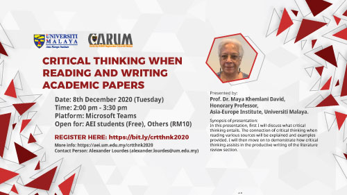 Webinar: Critical Thinking When Reading and Writing Academic Papers