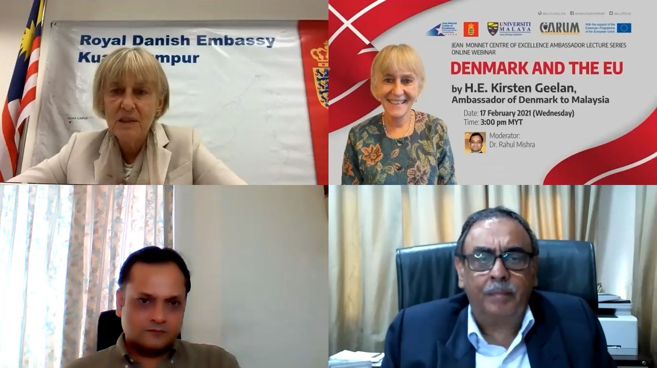 Top left: H.E. Kirsten Geelan, Ambassador of Denmark to Malaysia (peaker); Bottom left: Dr. Rahul Mishra (moderator); Bottom right: Assoc. Prof. Dr. Jatswan Singh (Executive Director of AEI)