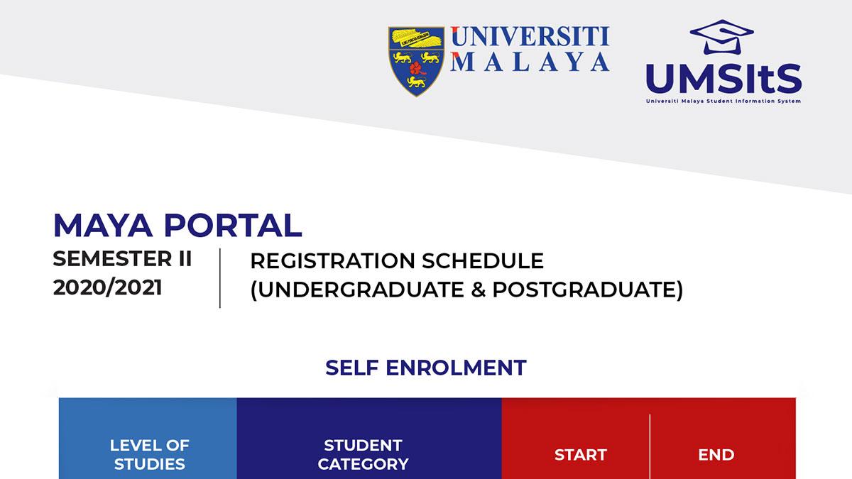 Registration Schedule Semester II, 2020/2021