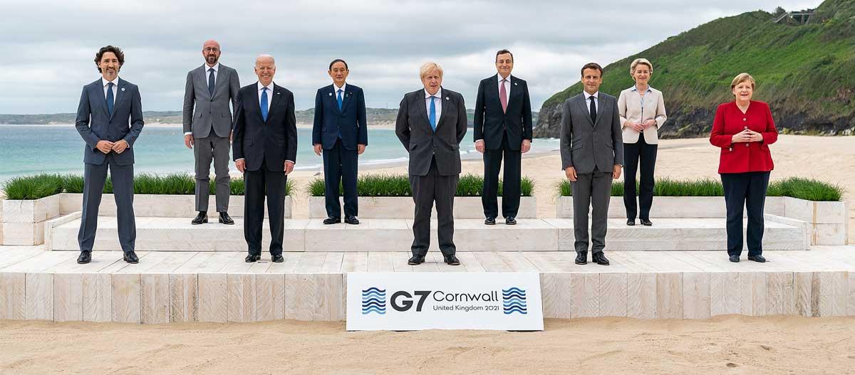 President Joe Biden takes a G7 leaders family photo on Friday, June 11, 2021