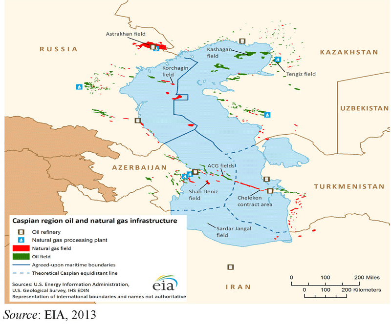 Figure 1: The proposed and already effective division of the Caspian basin