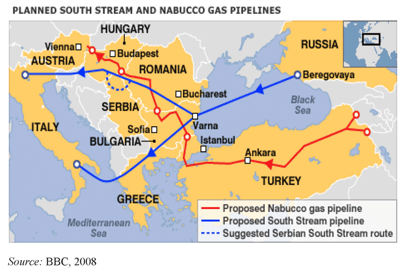 Figure 2: The planned South Stream and Nabucco gas pipelines