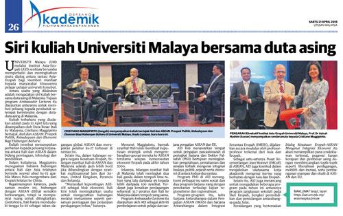 Media coverage: Siri kuliah Universiti Malaya bersama duta asing