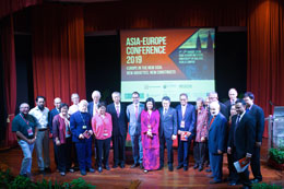 All the speakers and panellists together with Prof. Dr. Azirah Hashim (11th from the left) and YB Senator Liew Chin Tong