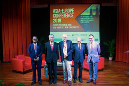 Session 1 Panellists - (from left to right) Professor Amitav Acharya, Ambassador Makio Miyagawa, Professor Anthony Milner, Tan Sri Mohamed Jawhar Hassan and Professor Sven Biscop