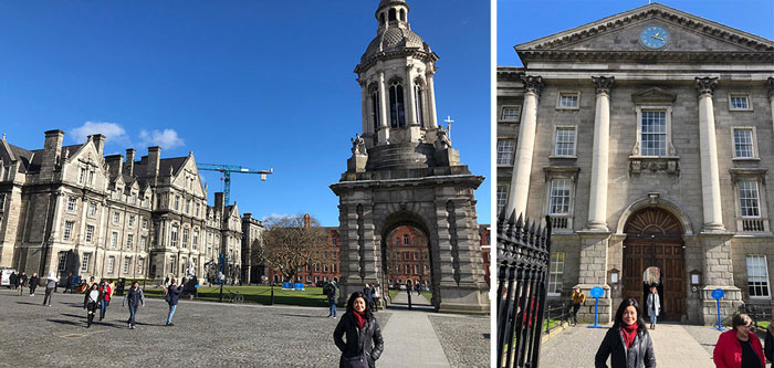 In front of The Campanile of Trinity College