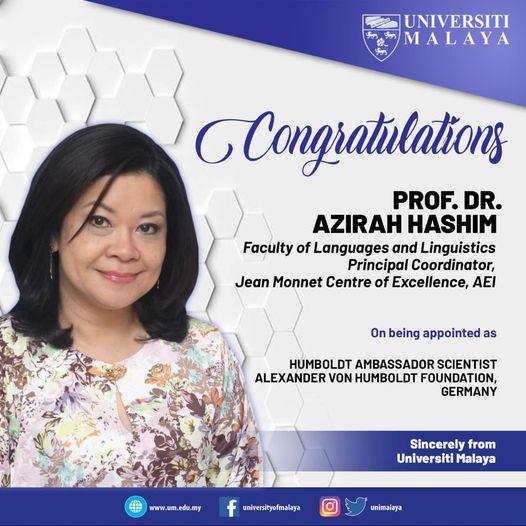 congratulations to Professor Dr Azirah Hashim