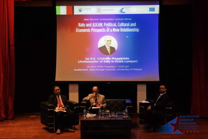 From left to right: Dr. Roy Anthony Rogers (Moderator), H.E Cristiano Maggipinto, Dr. Rahul Mishra (Reactor)