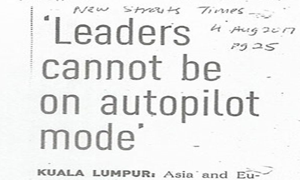 Leaders cannot be on autopilot mode