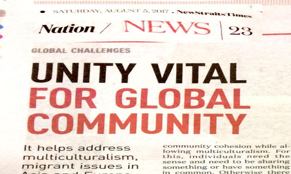 Unity vital for global community